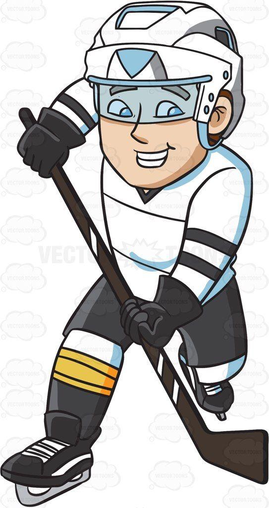 A Happy Hockey Player Vector Graphics Vectortoons Com Hockey Players Cartoon People Hockey