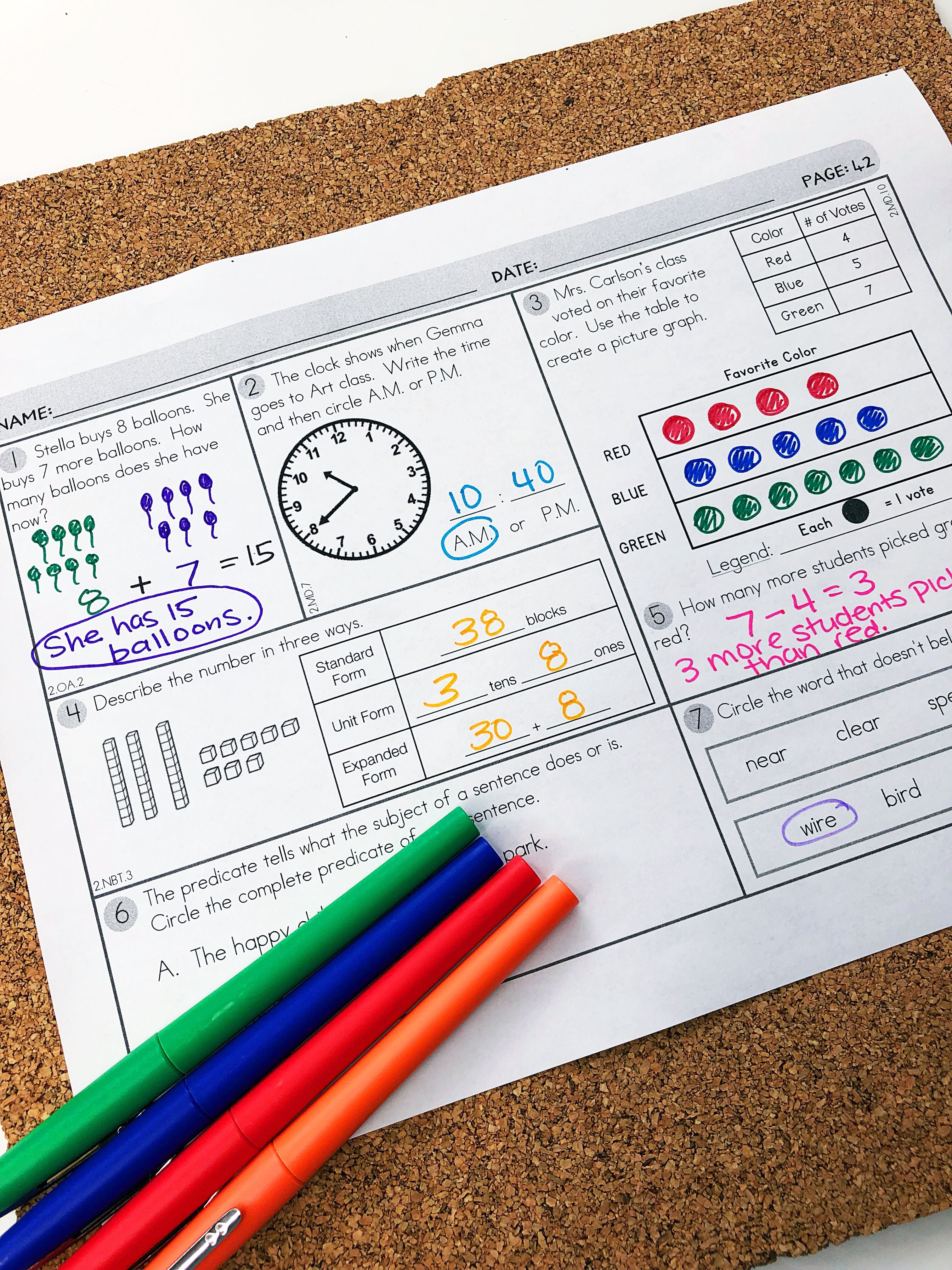 Daily Math Spiral Review Second Grade Math Standards With
