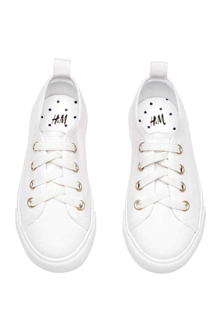 Canvas Trainers White Kids H M Ca Canvas Plimsolls Lace Sneakers White Sneakers