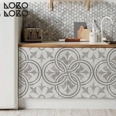 Vinilo para muebles de cocina de baldosas con diseños ornamentales ...