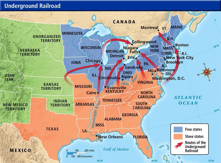 Underground Railroad Map | Underground Railroad | Abolitionists of ...