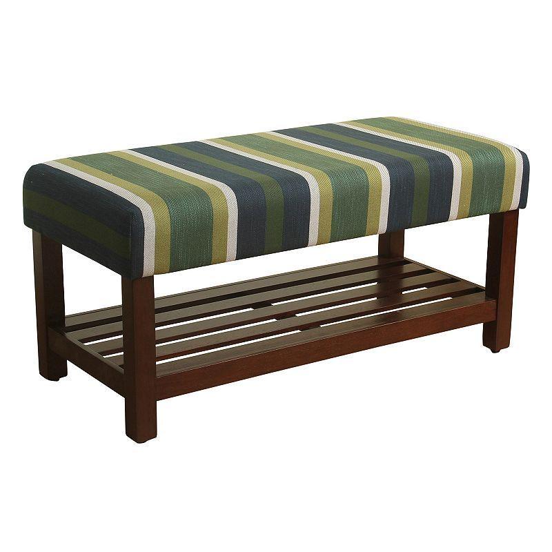 HomePop Striped Bench, Green