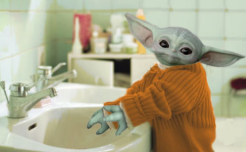 Latest Baby Yoda Washing Hands Meme Template To Create A Funny Meme In Seconds Create And Share Your Memes Online Onli Yoda Star Wars Humor Cute Funny Babies