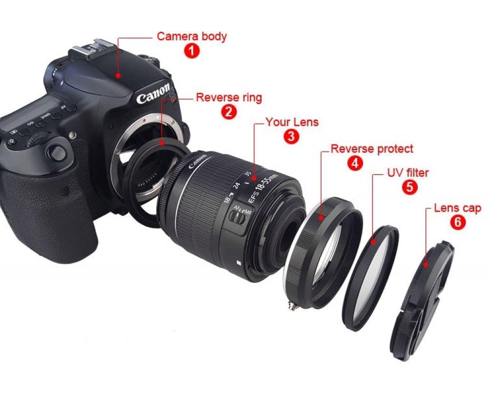 Camera Macro Lens Reverse Adapter Set For Canon Eos 70d 80d 700d 750d 800d 1200d 100d 200d 5d2 5diii 5div 6d Mark Ii 77d 7d Dslr Macro Lens Dslr Lens Dslr