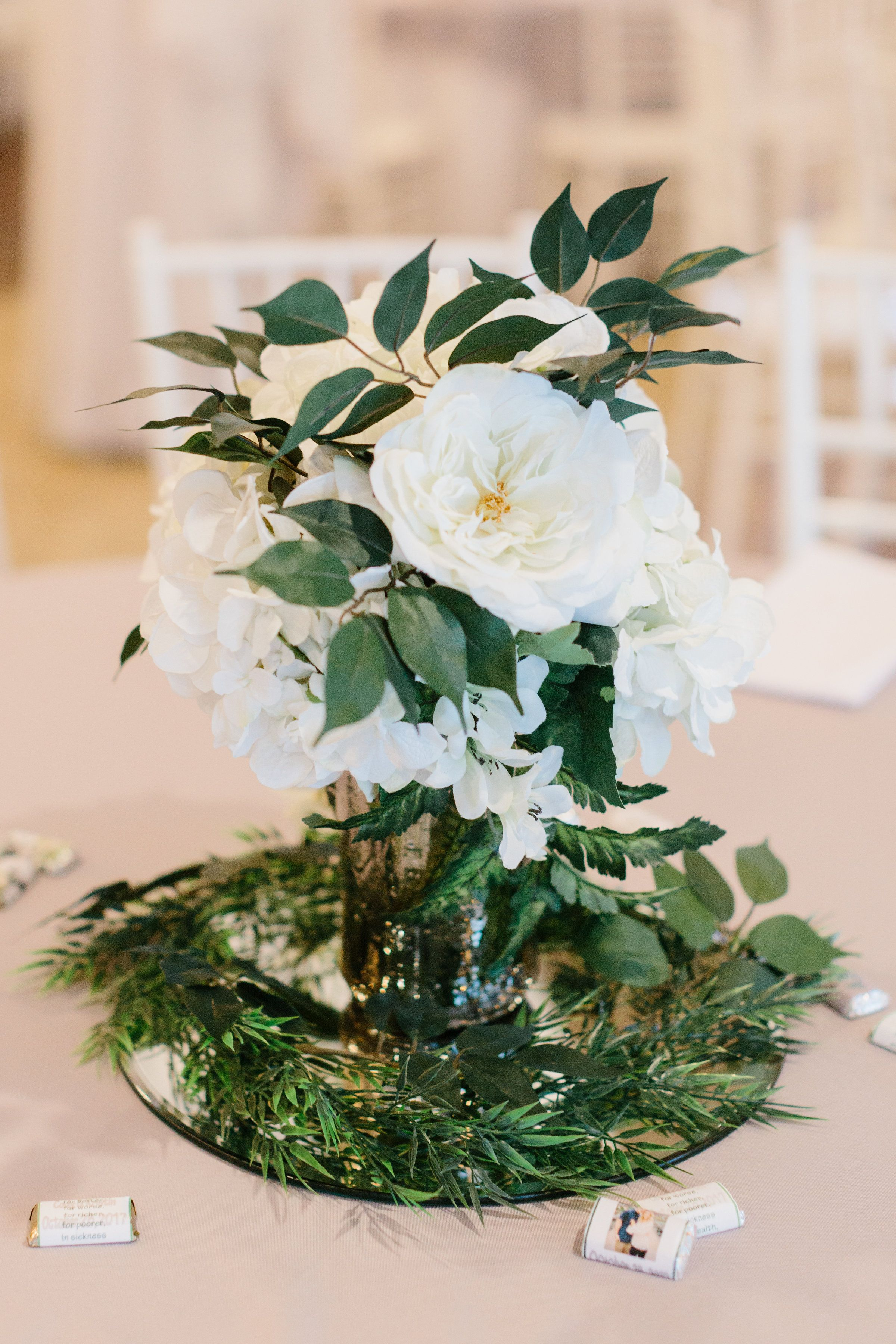 White Flower And Greenery Wedding Reception Centerpiece Central Arkansas Floral