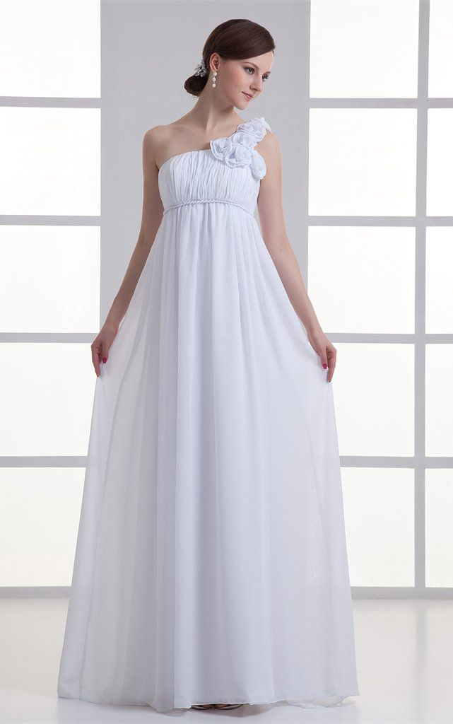 33ee08e1ba9 Chiffon Floral Floor-Length Empire One-Shoulder Long Dress-GC 708064 ...