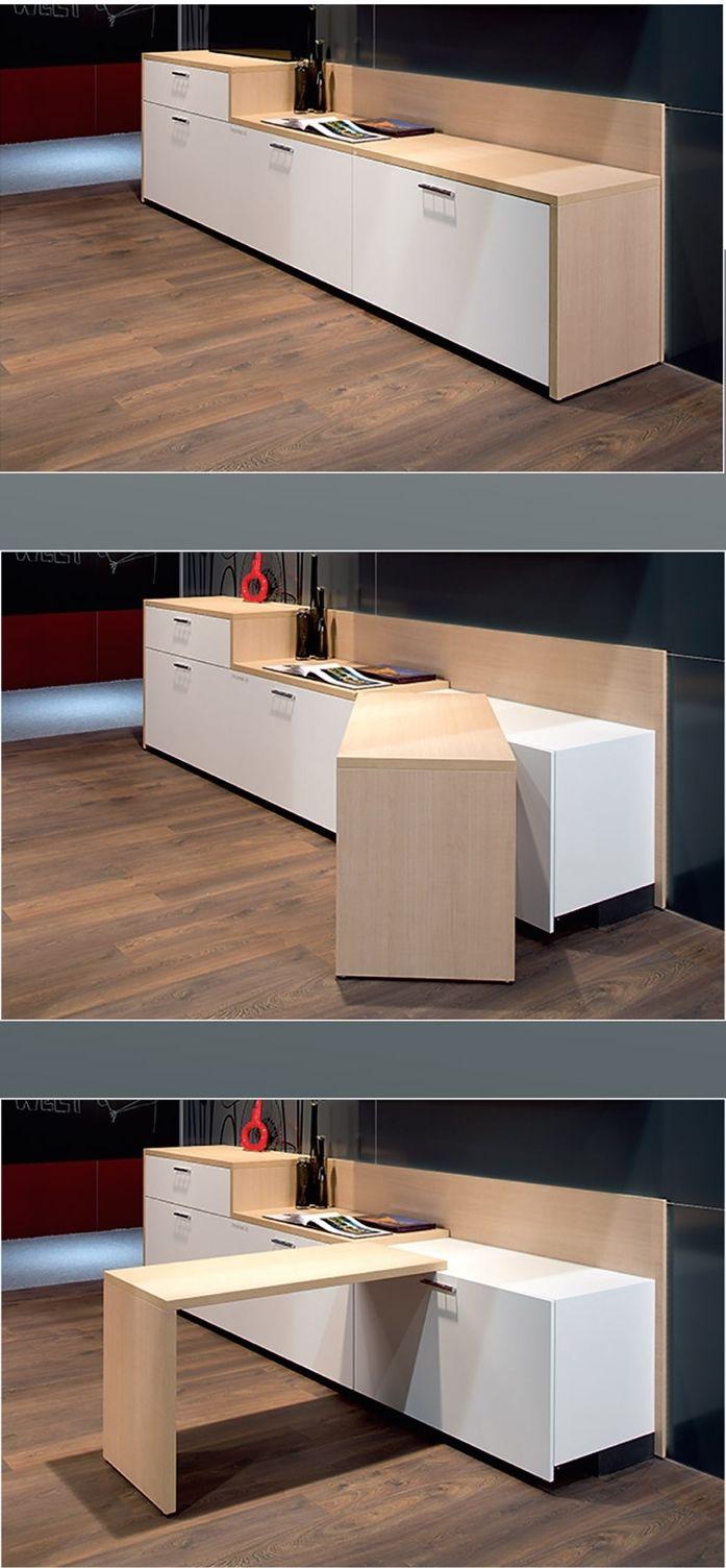 La table pivotante id ale pour petits espaces devenir - Table escamotable dans meuble de cuisine ...