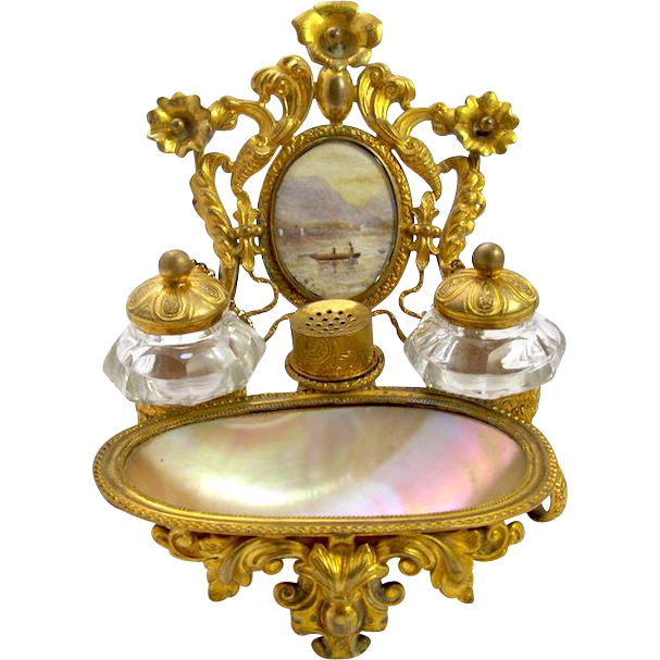 Antique French Palais Royal Mother of Pearl Inkwell with 2 Crystal Ink Pots and Lids and Original Pounce Pot. Pounce Pot Were Used to Store Fine
