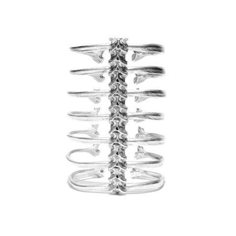 Silver 7 Ribs Spine Bracelet by Ayaka Nishi