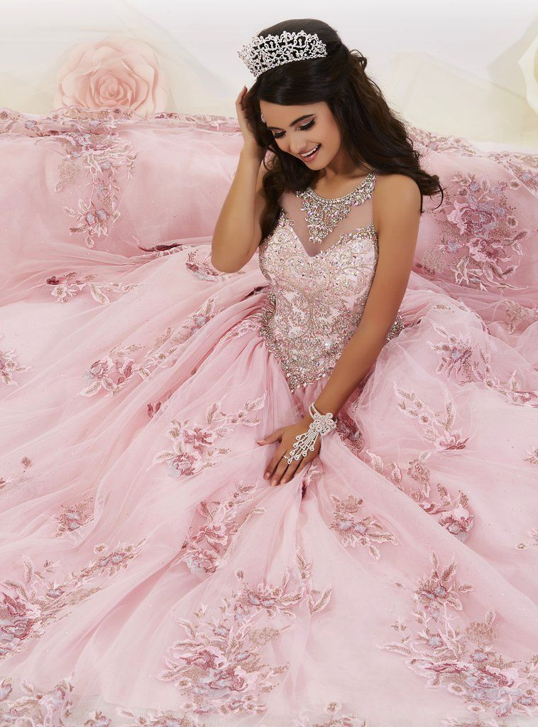 Floral Appliqued Quinceanera Dress By House Of Wu 26884 En