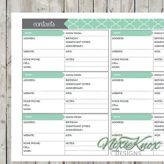 Contact List Printable Editable Address Book Page Record Planner