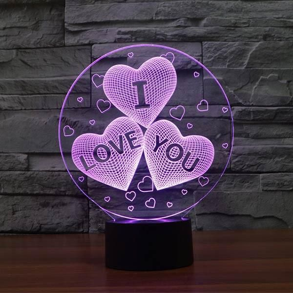 Love Hearts Pattern Colorful 3d Led Lamp Goamiroo Store 3d Night Light 3d Illusion Lamp Led Night Light