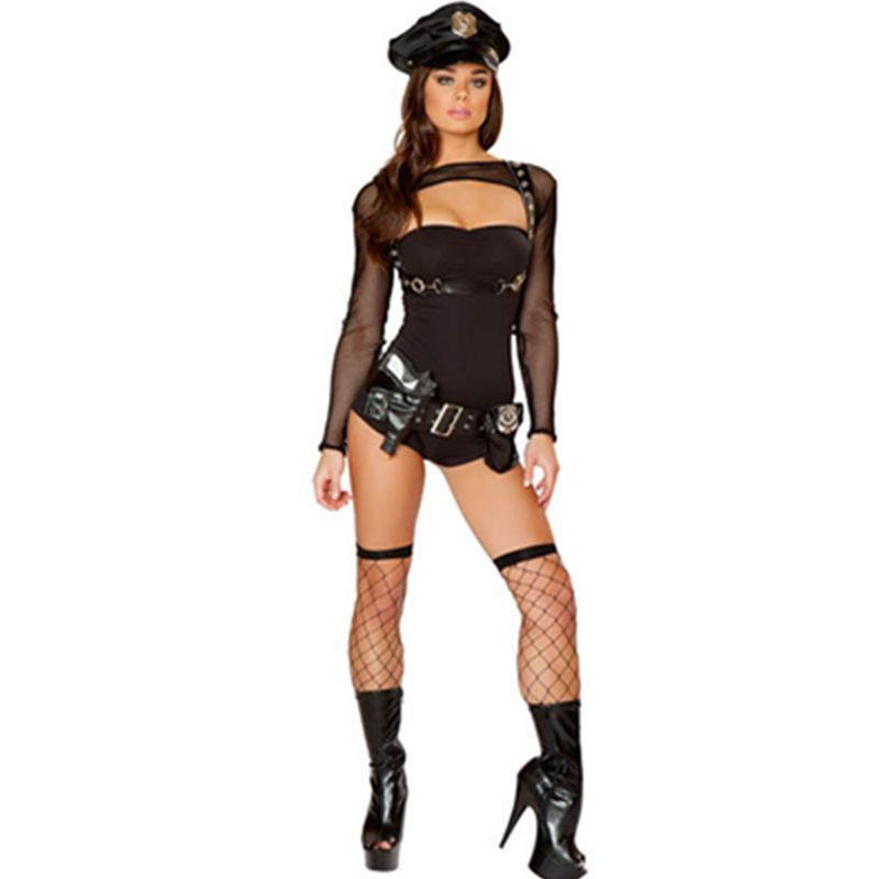 >> Click to Buy << Extra Naughty Black Strapless Romper Faux Leather Belt Bad Girl Costume Woman Cop Costume Hot Sale Policewoman Costume L15223 #Affiliate