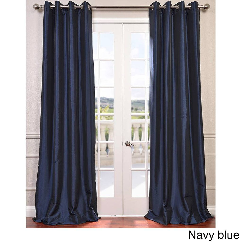 Exclusive Fabrics Grommet Blackout Faux Silk Taffeta 108 Inch Length Curtain Panel Navy Blue Size 50 X Nylon Solid
