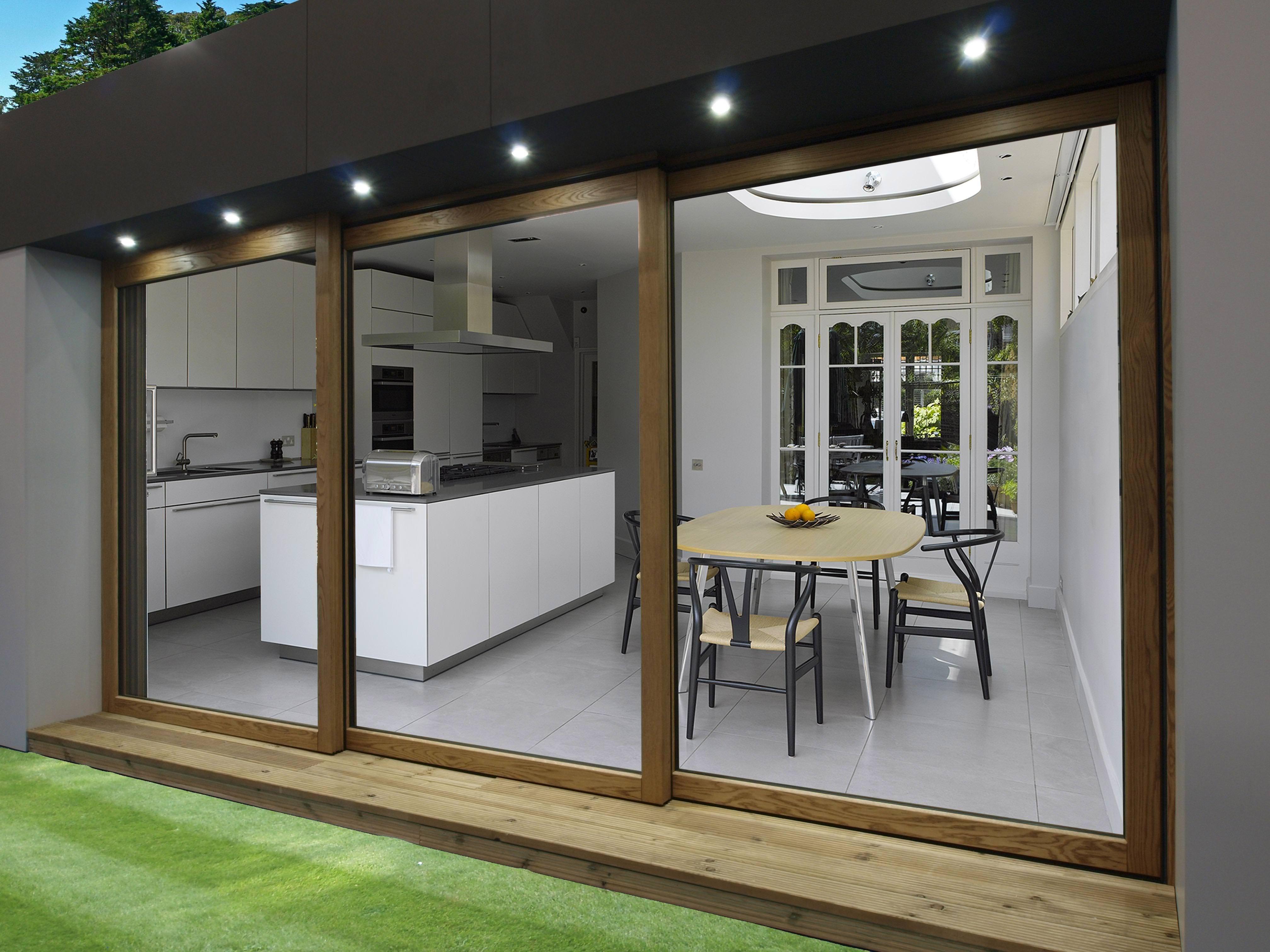 Madera en casa moderno windows puertas correderas for Puertas para casa exterior