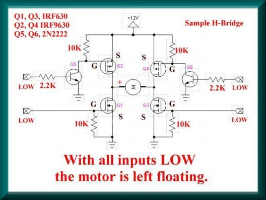 4-input H-Bridge circuit using power MOSFETs ... on
