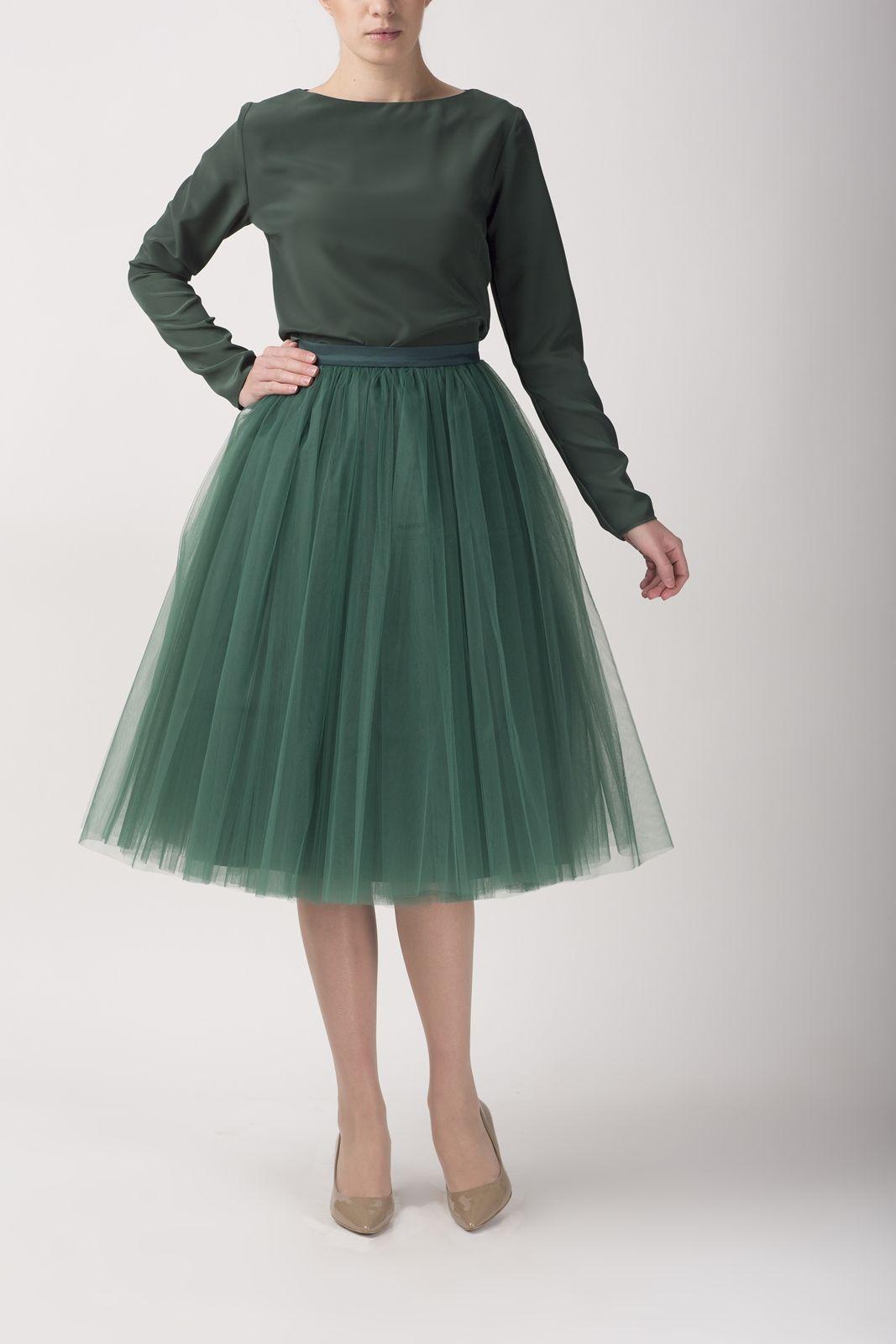 Bottle green tulle skirt and blouse by Fanfaronada | Styles ...