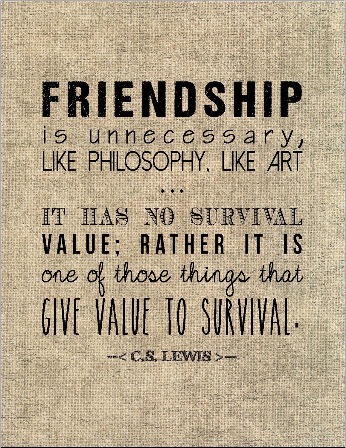 Cs Lewis Quote About Friendship C.slewis Friendship Quote Typography Print Birthday Gift For