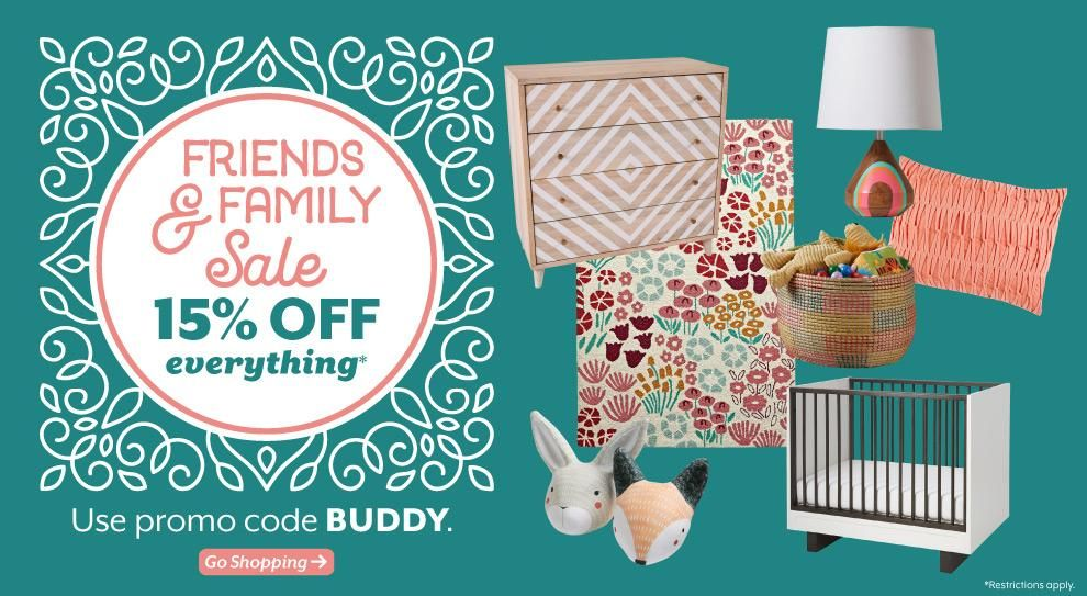 Land of Nod Friends and Family Sale 15% from 7/30-8/03 2015!