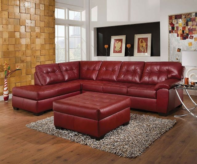 Incredible Elegant Red Leather Sectional Sofa With Small Leather Table Pdpeps Interior Chair Design Pdpepsorg