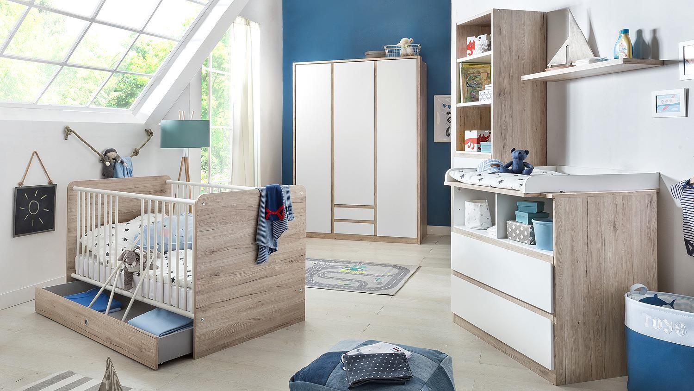 New Babyzimmerset BIANCA Bett Schrank Wickelkommode in wei San Remo Eiche