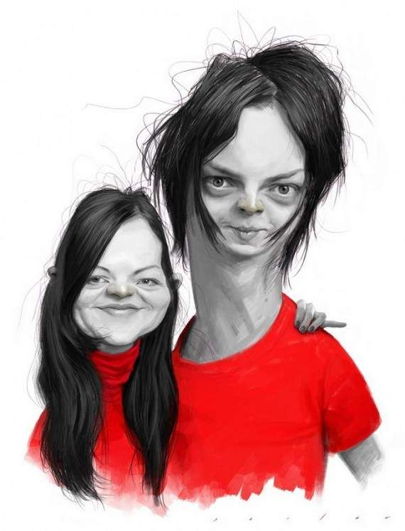 Jack White #Meg White #Famous #White Stripes #Caricatures #Stella's Magazine
