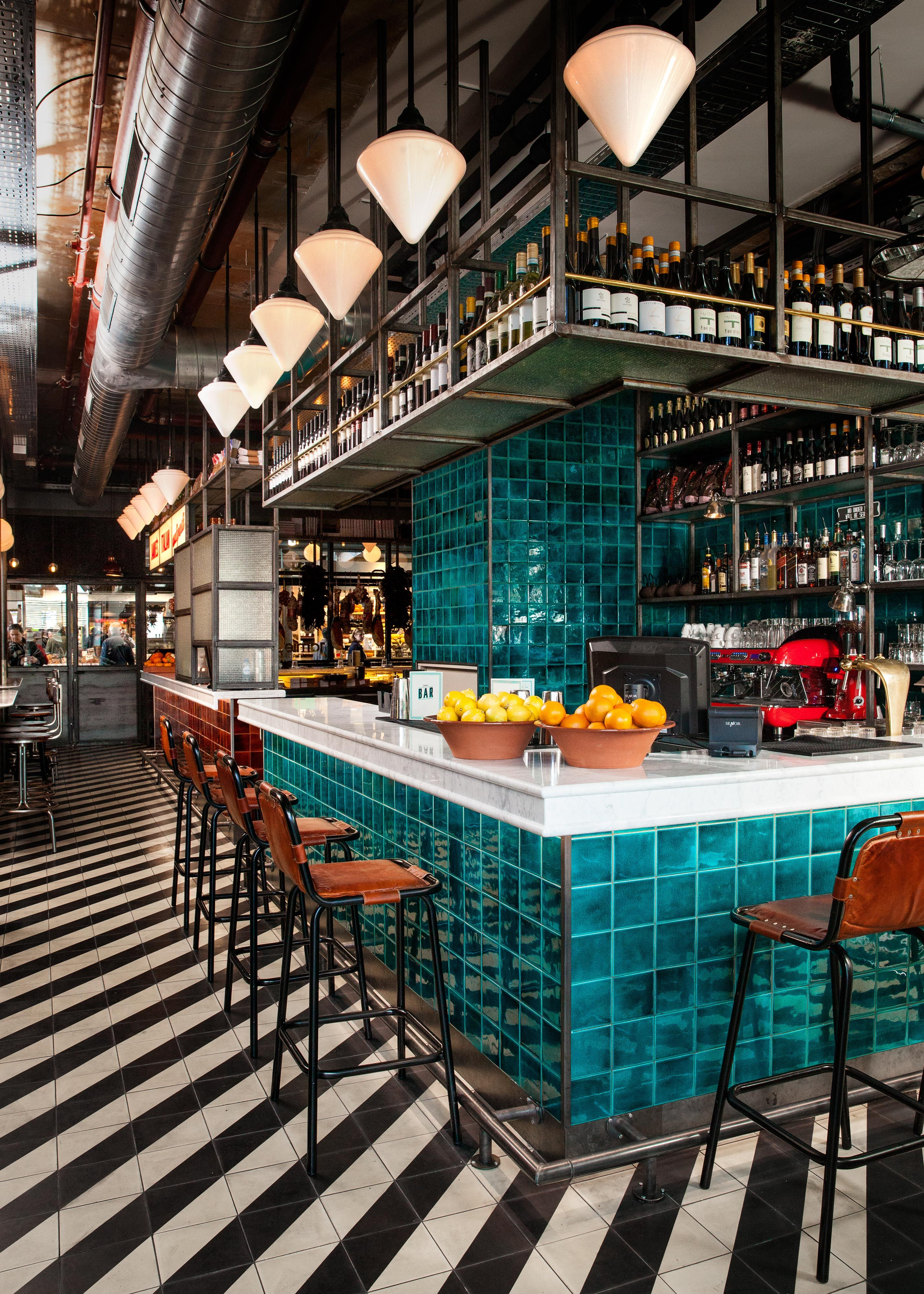 Loving The Tile In This Restaurant Rich Color Of Bar Really Pops Against Stripes On Floor Working A Hospitality Project