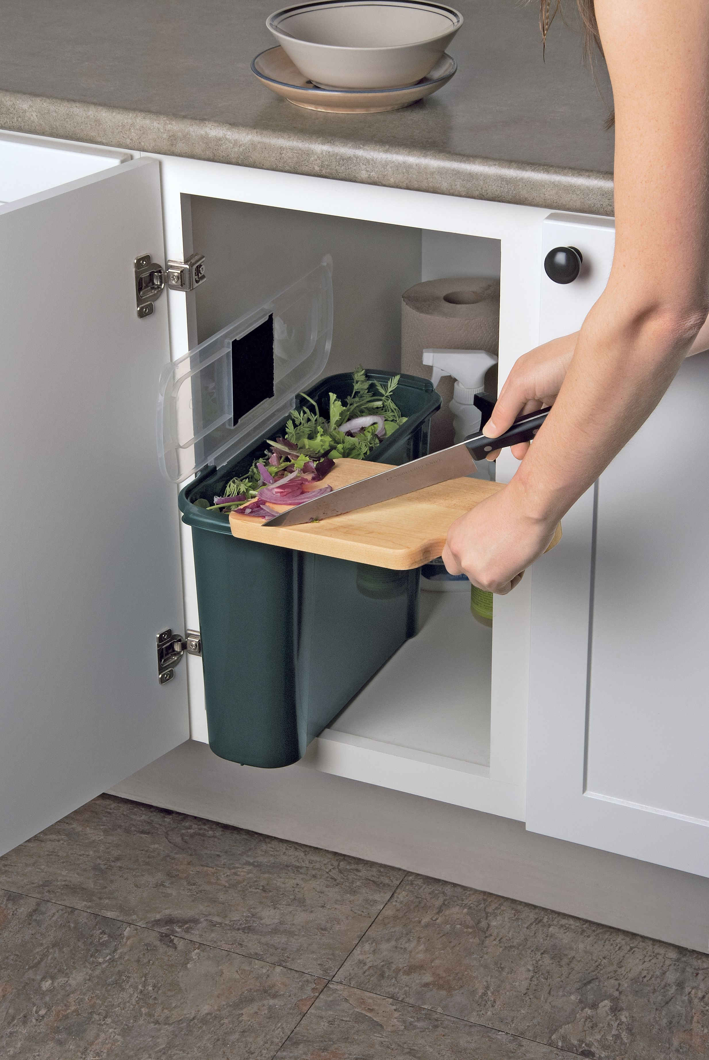 Slimline Compost Caddy A Slim Bin That Tucks Away In Undercounter Cabinets