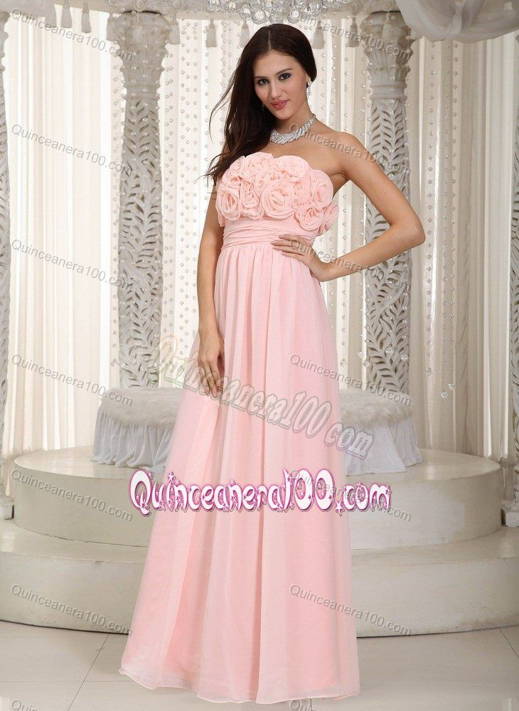 Baby Pink Empire Strapless Quince Dama Dresses with Flowering Bodice ...