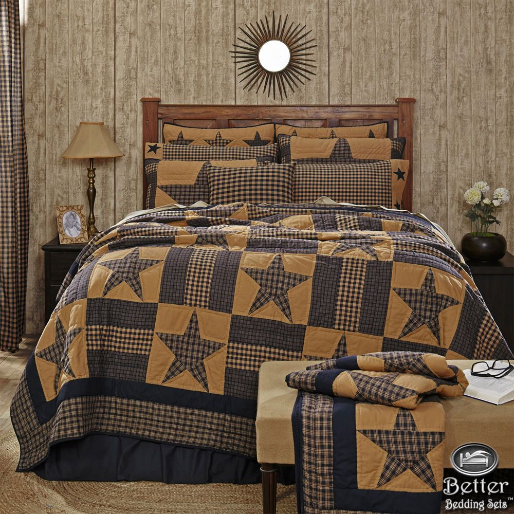 Blue Brown Primitive Plaid Star Rustic Western Country