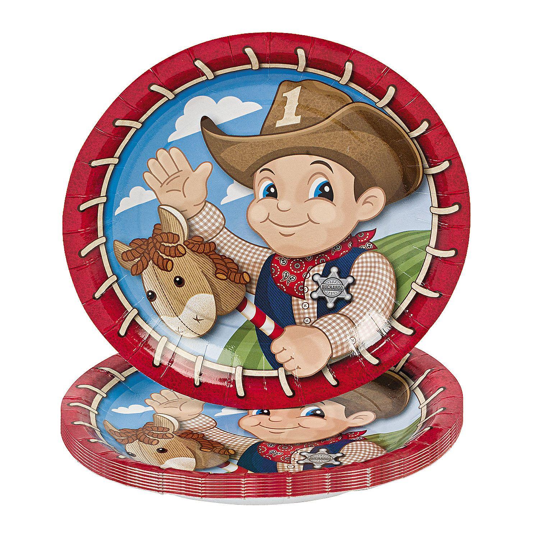 8 1st Birthday Cowboy Dessert Plates