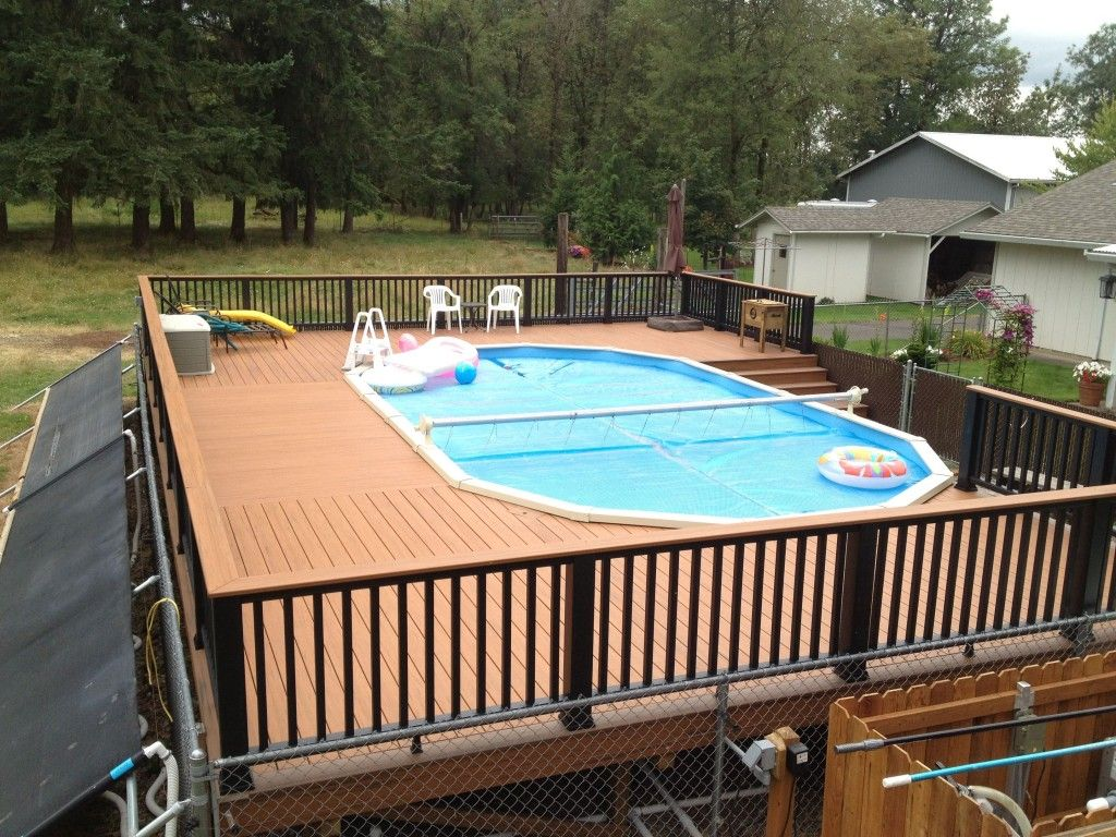 Swiming pools storage cube with beach ball also pool inflatables and pool cover besides pool - Above ground composite pool deck ...