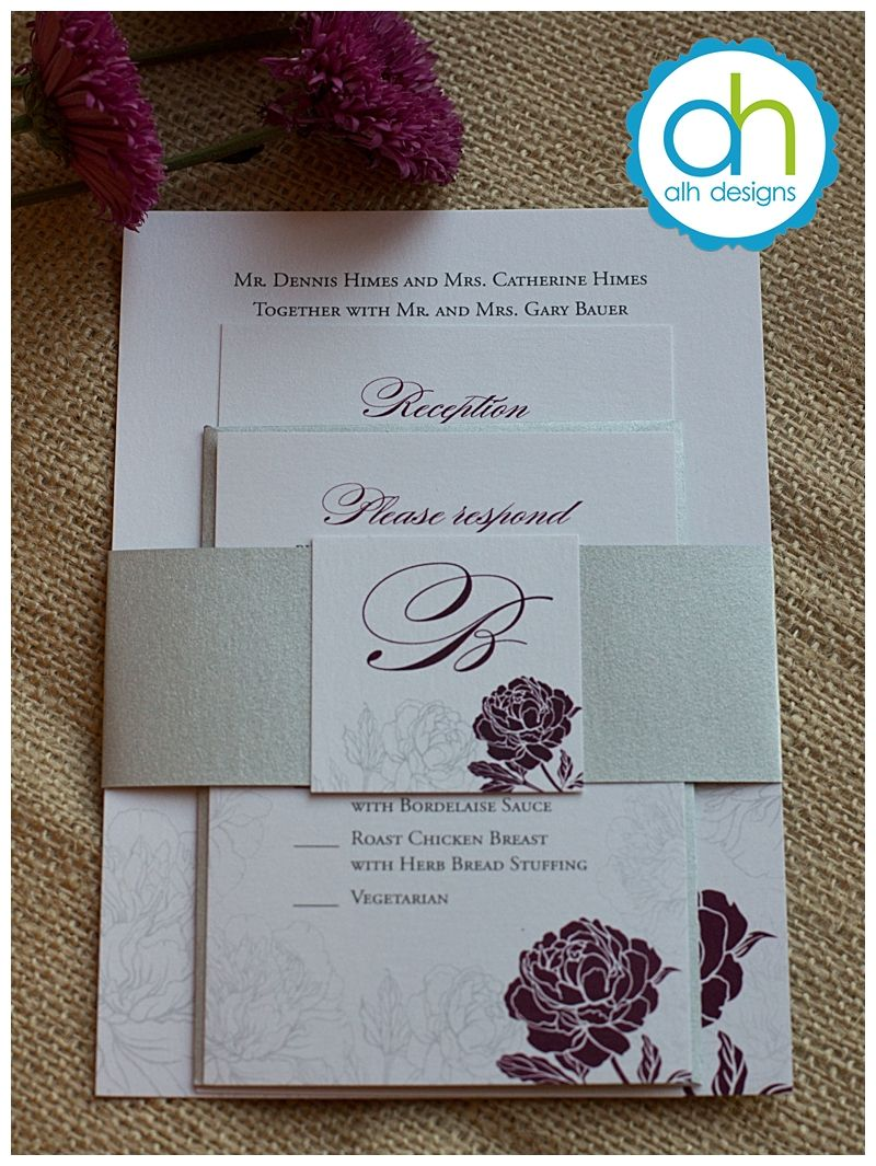 Sangria and gray colored flower wedding invitation suite April