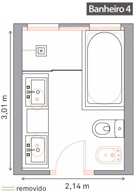 Reforma de cinco banheiros com tempo de obra e fotos de for Bathroom design 3x2