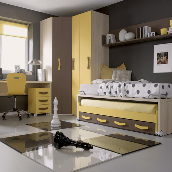 Mueble melamina color madera amarillo y marr n muebles de for Muebles modulares juveniles