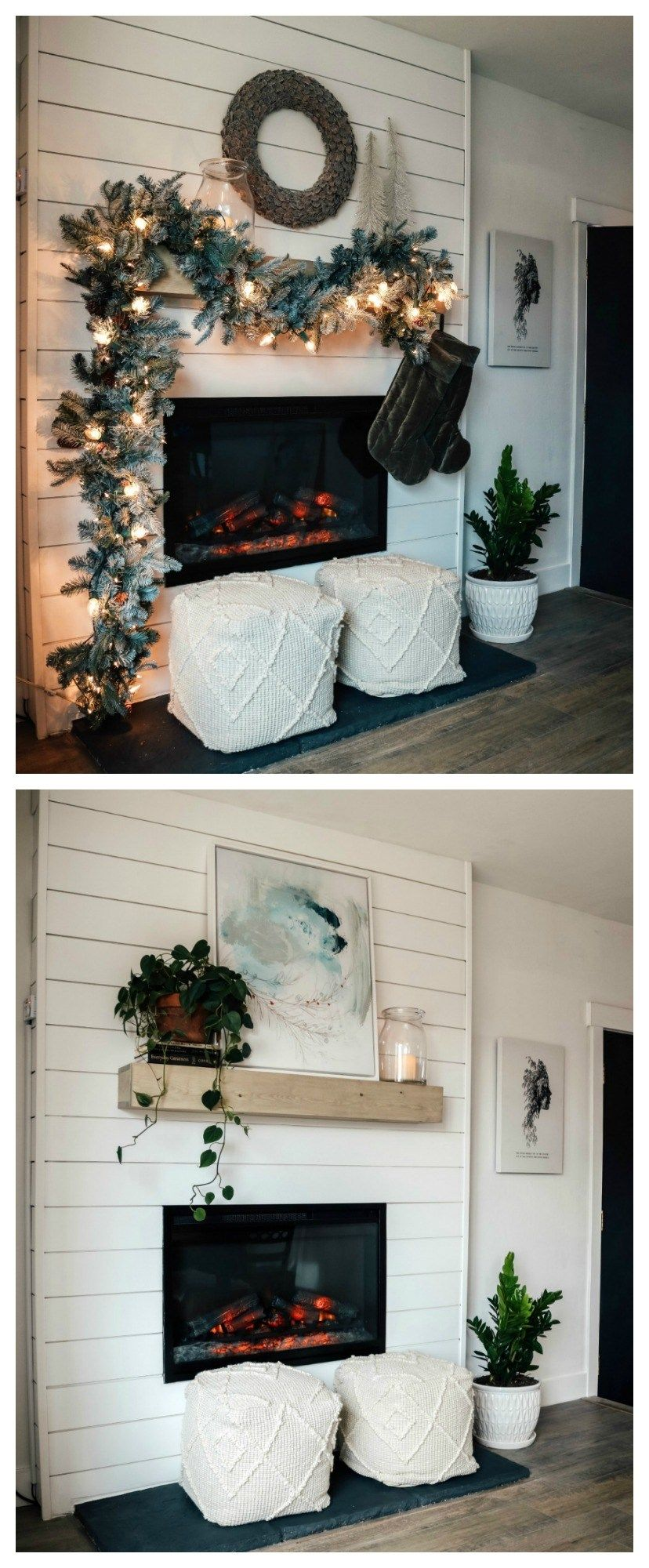 Dated Rock Fireplace turned Electric Shiplap Fireplace Makeover - Nesting With Grace