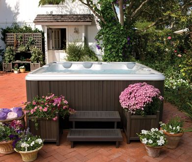 Love The Plants Around The Spa Hot Tub Landscaping Hot Tub Backyard Backyard Pool Landscaping