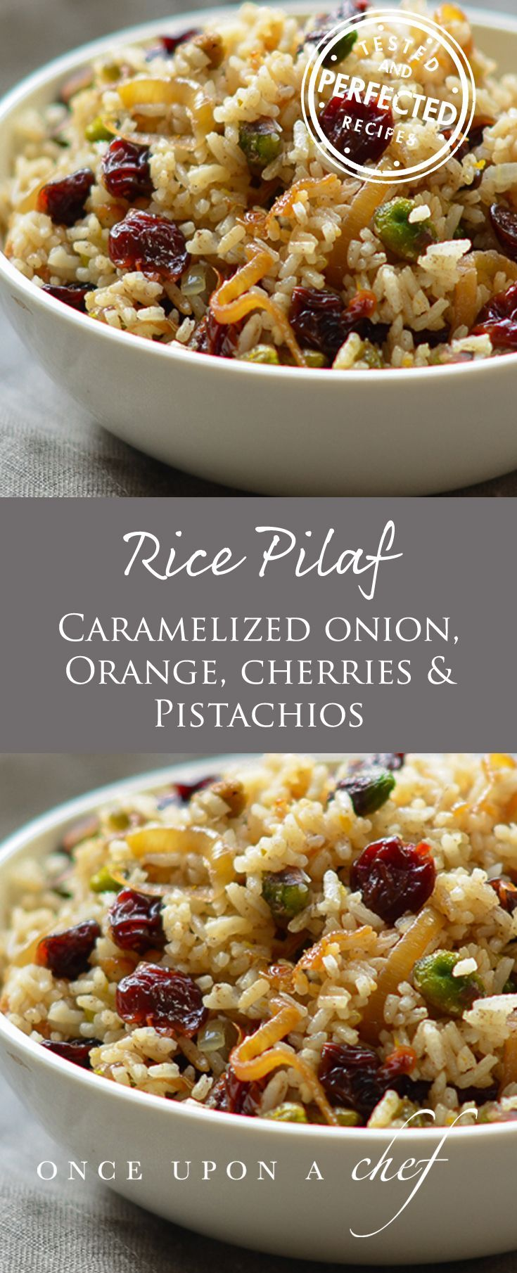 Rice Pilaf with Caramelized Onion, Orange, Cherry & Pistachio #finecooking