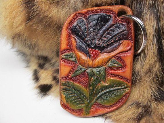 Wild rose leather keychain , Western key fob , purple flower fob, yellow and purple key ring , handmade key holder