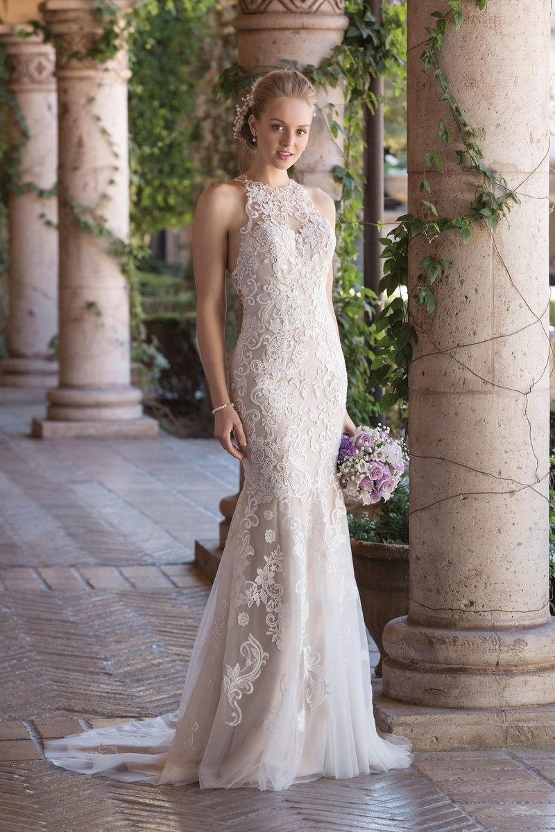 Sincerity bridal jewel neck fit and flare gown with illusion lace