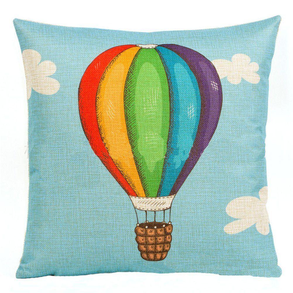 Highsun colorful hot air ballnoon blue throw pillow cover