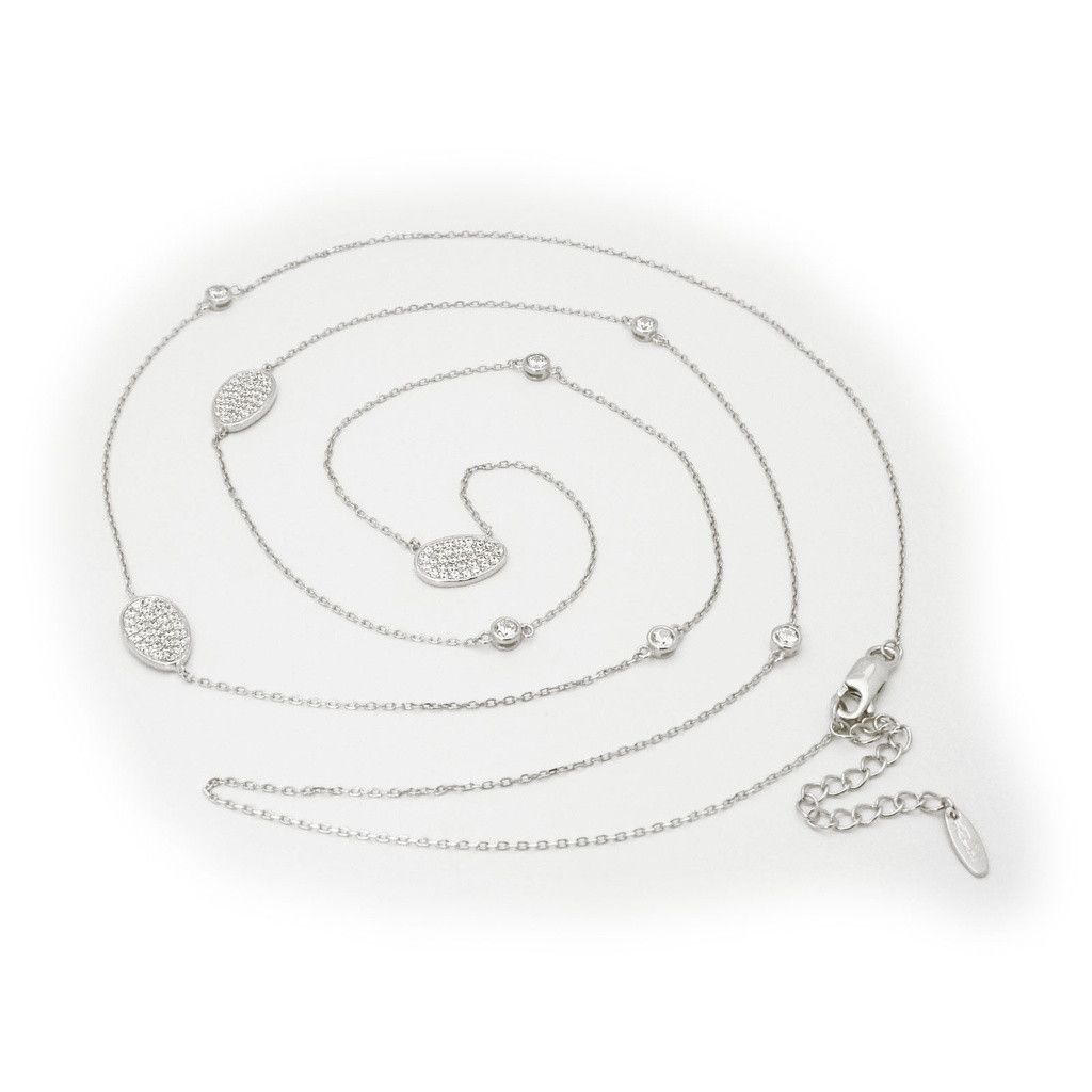 """Fronay Collection Silver Rhodium Plated 36""""+ 2"""" Necklace 3 Oval Cz Pave and Cz By the Yard Style"""