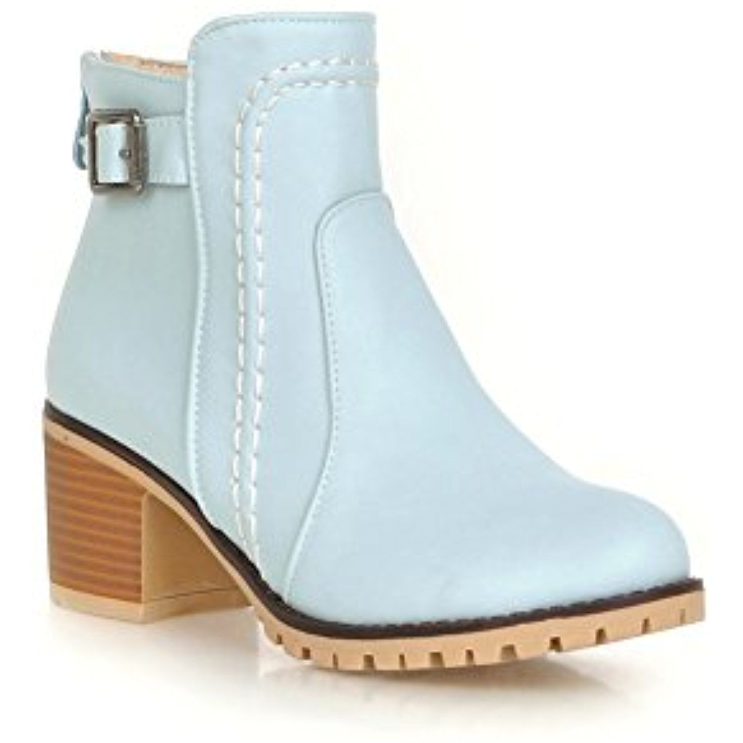 Womens Fashion Round Toe Low Chunky Heels Ankle Casual Boots