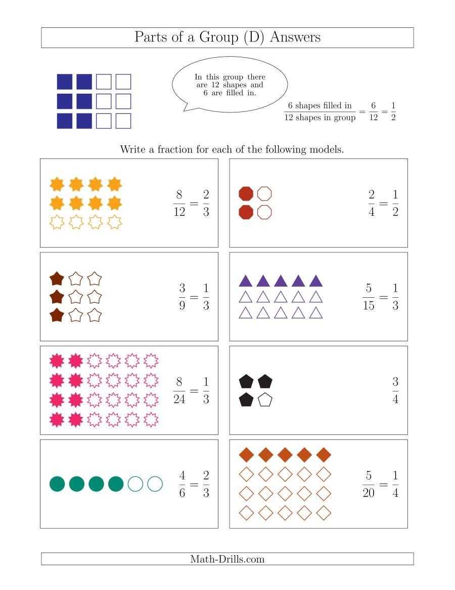 The Parts Of A Group Fraction Models Up To Fourths D Math Worksheet Page 2 Fractions Fraction Activities Free Fraction Worksheets