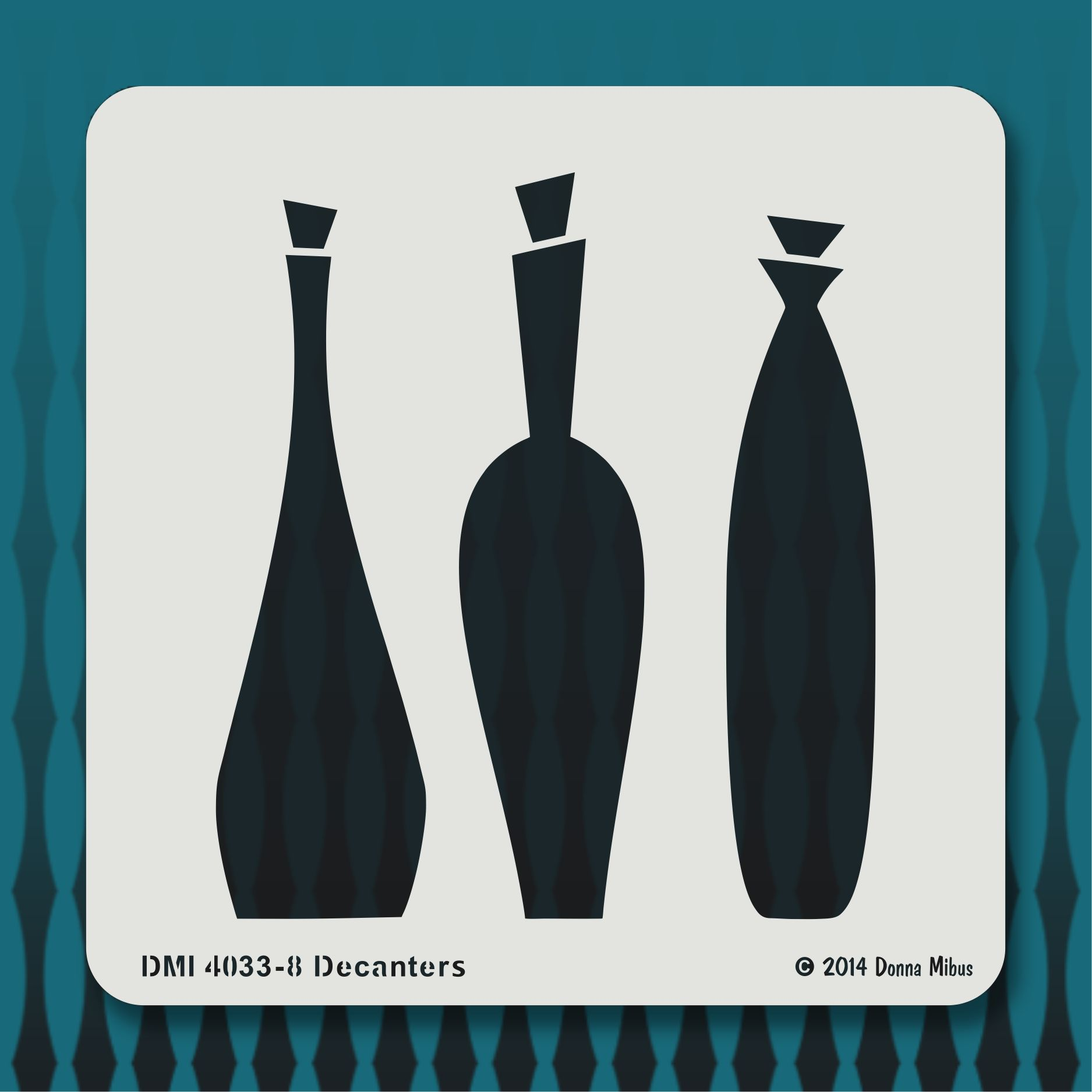 4033 8 Decanters From The Mid Century Modern Stencil Collection