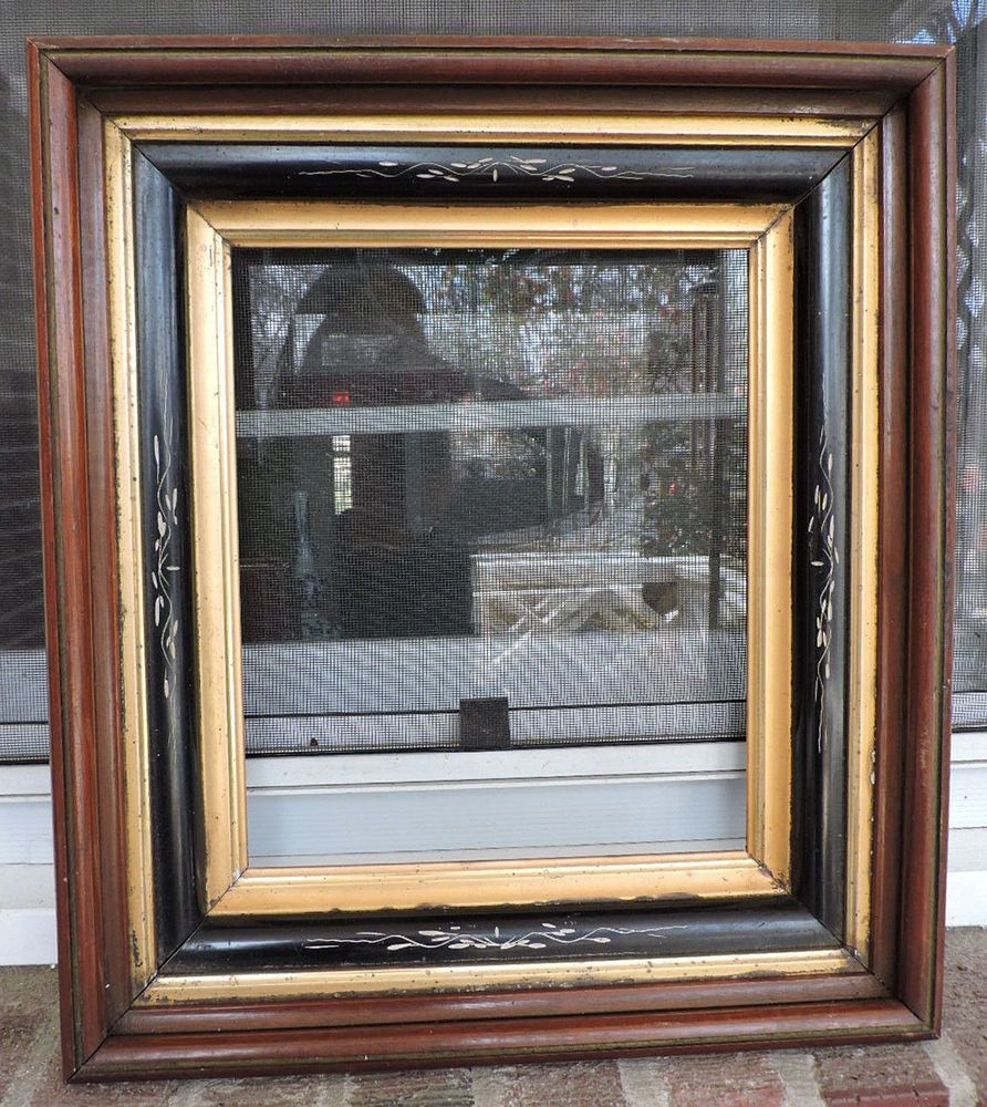 Victorian Eastlake Walnut Gilt Gold Black Ebonized Picture Frame
