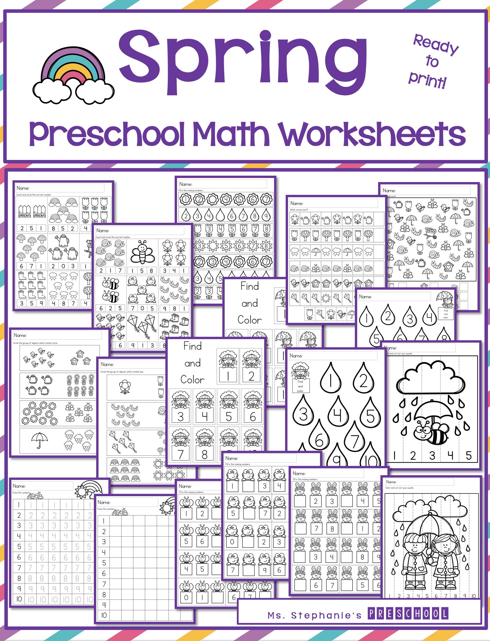 Spring Preschool Math Worksheets Spring Worksheets Preschool Preschool Math Worksheets Spring Preschool [ 2204 x 1686 Pixel ]