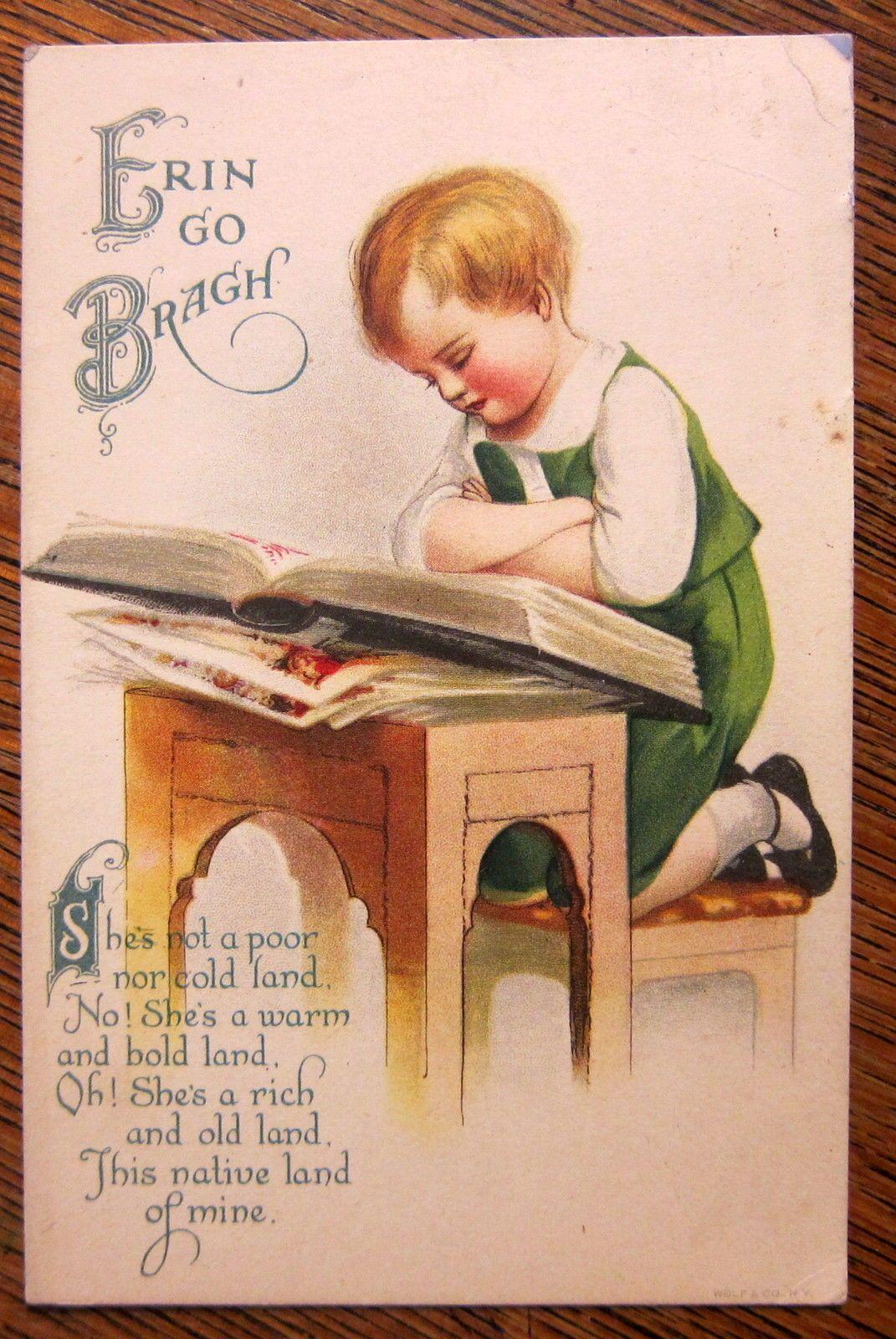 Cute boy reads book clapsaddle irish st patrick day