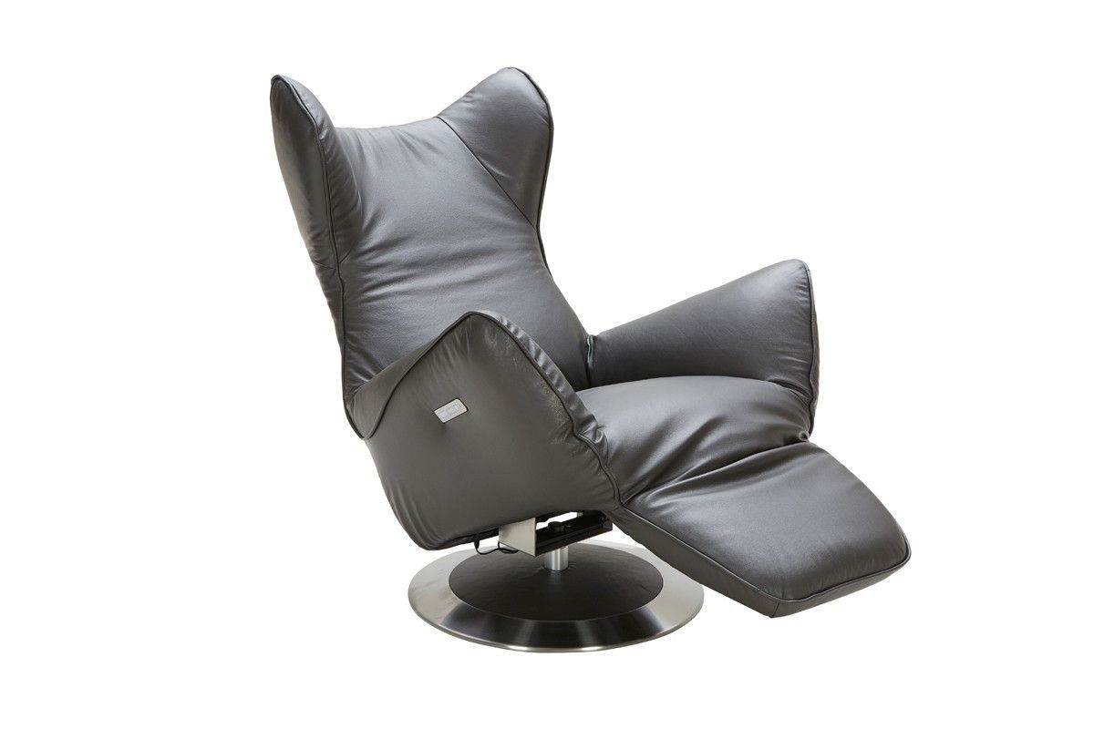 Divani Recliner Chair Divani Casa Manitoba Modern Grey Leather Electric Recliner Chair