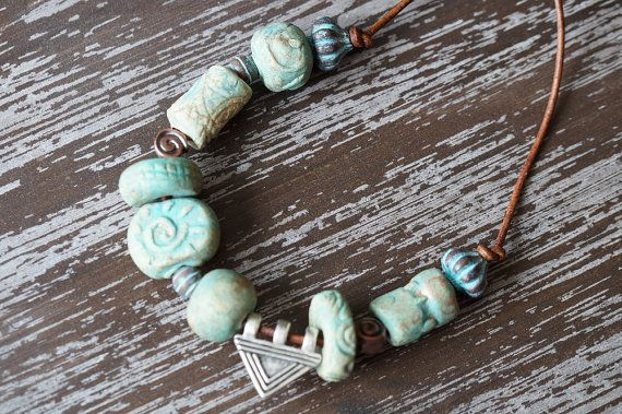 Chunky Tribal Necklace  Leather Necklace  by BeadSoupJewelry